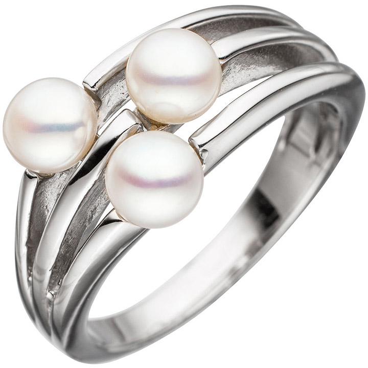 Damen Ring 925 Sterling Silber rhodiniert 3 Süßwasser-Perlen Perlenring