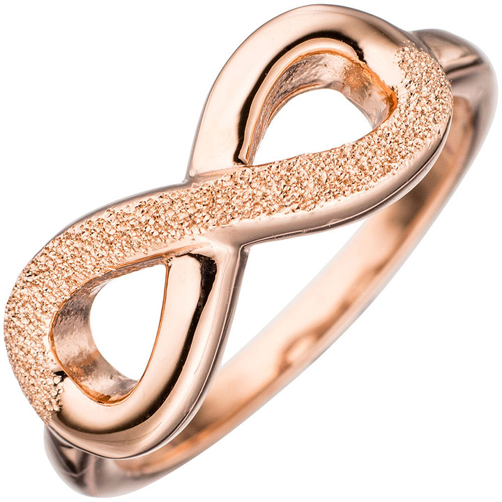 Damen Ring Unendlichkeit 925 Silber rotgold vergoldet mit Struktur Silberring
