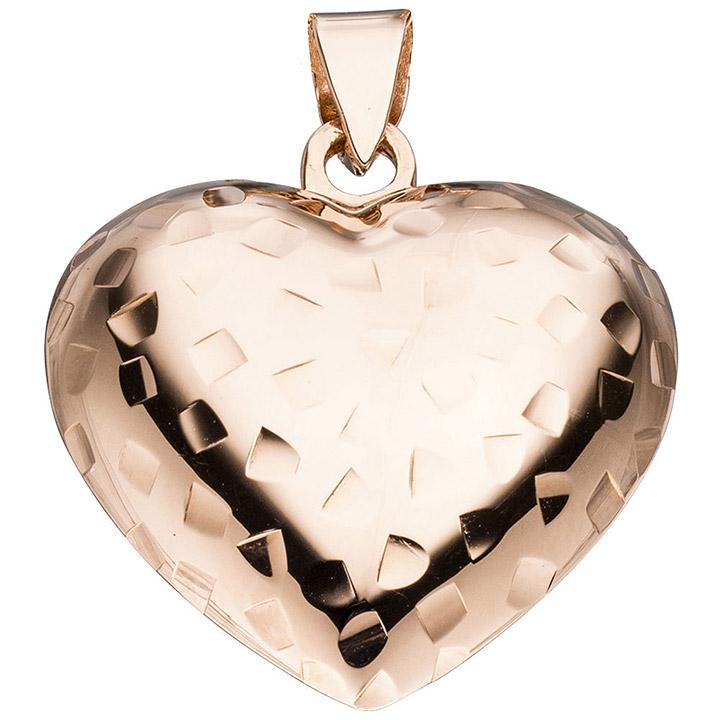 Anhänger Herz 925 Sterling Silber rotgold vergoldet Herzanhänger