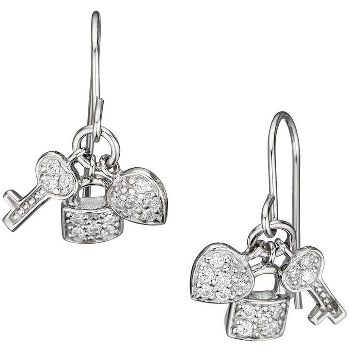 Ohrhänger Herz Schloss Schlüssel 925 Sterling Silber mit Zirkonia Ohrringe