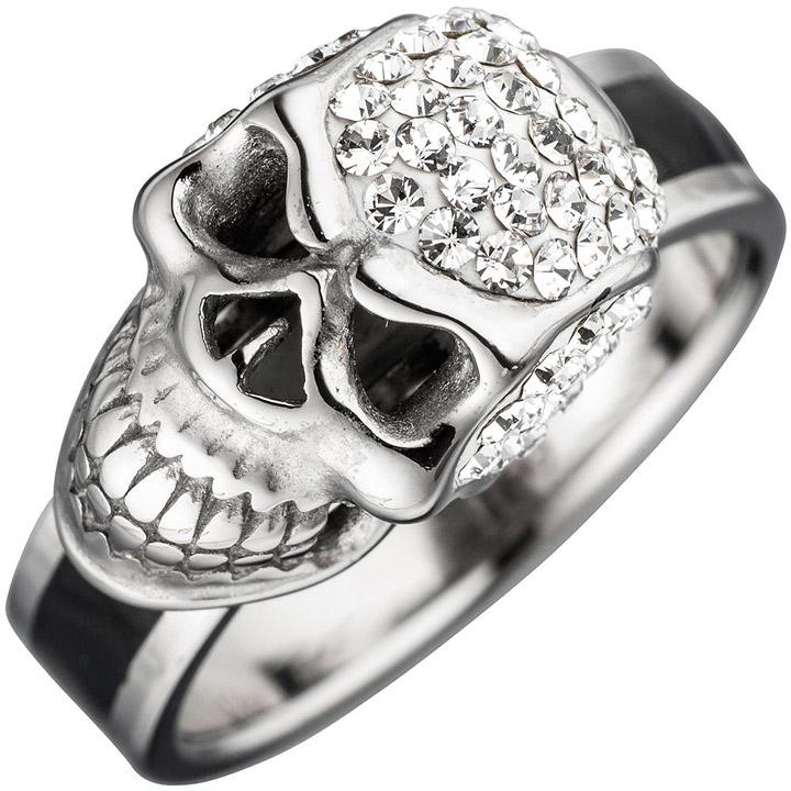 Damen Ring Totenkopf Edelstahl mit schwarzer Lackeinlage und SWAROVSKI® ELEMENTS