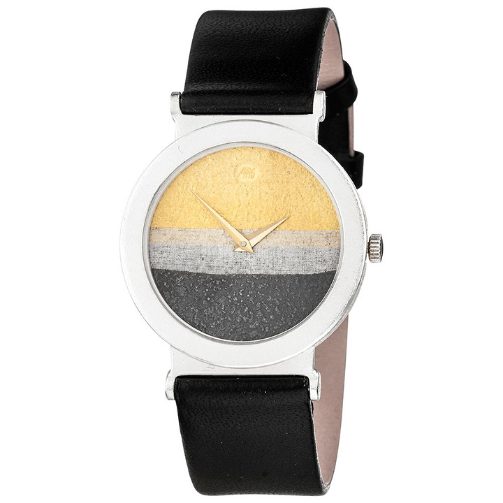 Unisex Armbanduhr Quarz Analog 925 Sterling Silber schwarzes Lederband