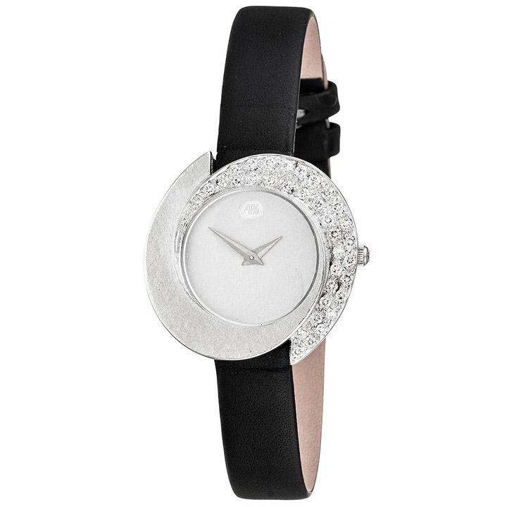 Damen Armbanduhr 750 Gold Weißgold mit 34 Diamanten schwarzes Lederband
