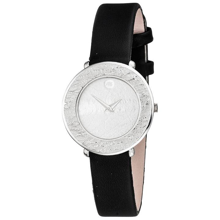 Damen Armbanduhr Quarz Analog 750 Gold Weißgold schwarzes Lederband