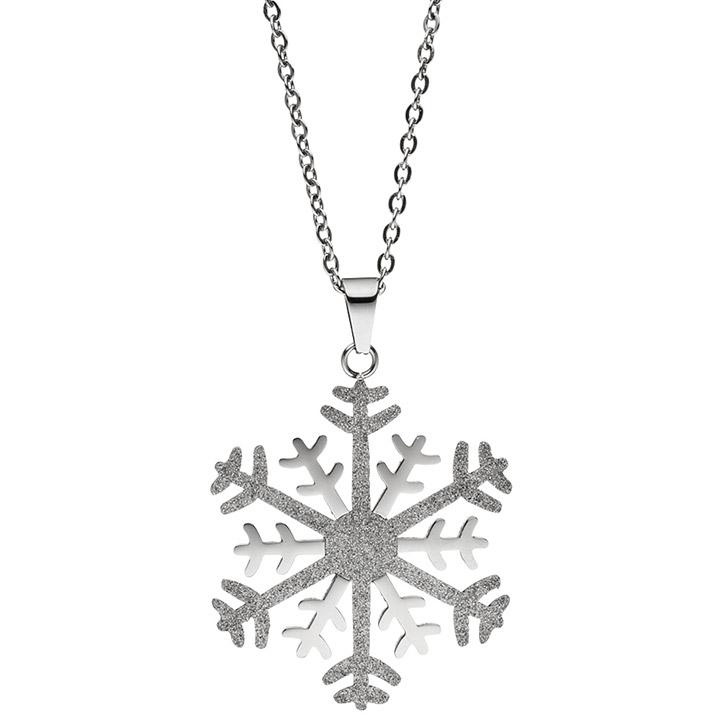 Collier Kette mit Anhänger Schneeflocke Edelstahl bicolor Glitzer-Effekt 42 cm