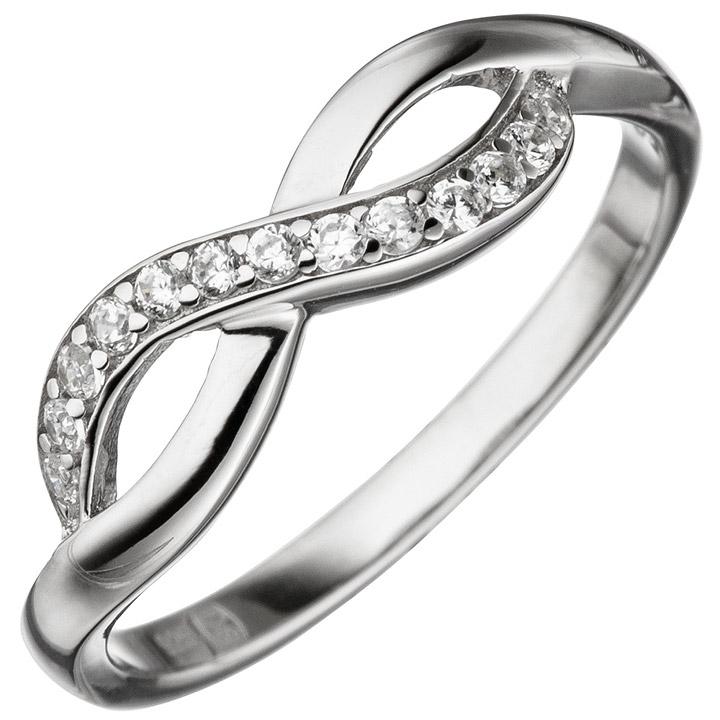 Damen Ring Unendlich 925 Sterling Silber mit Zirkonia Silberring