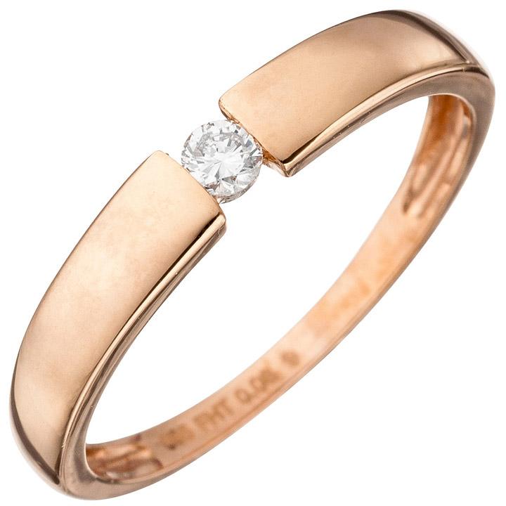 Damen Ring 585 Gold Rotgold 1 Diamant Brillant 0,08ct. Rotgoldring Diamantring