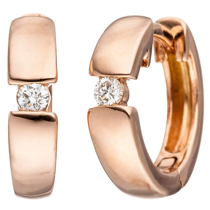 Creolen 585 Gold Rotgold 2 Diamanten Brillanten Ohrringe Rotgoldohrringe