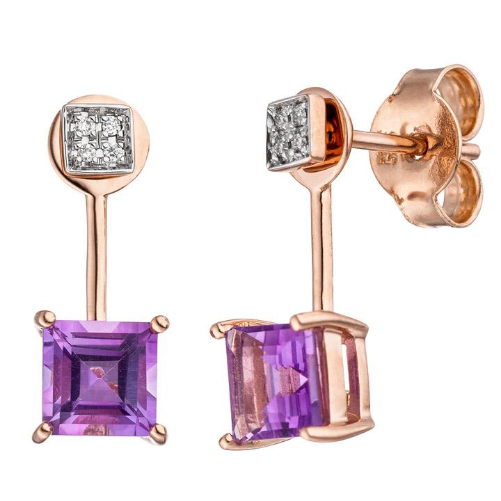 Ohrhänger 585 Rotgold bicolor 8 Diamanten Brillanten 2 Amethyste lila violett