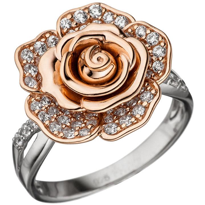 Damen Ring Blume Rose 925 Silber bicolor vergoldet 76 Zirkonia Silberring