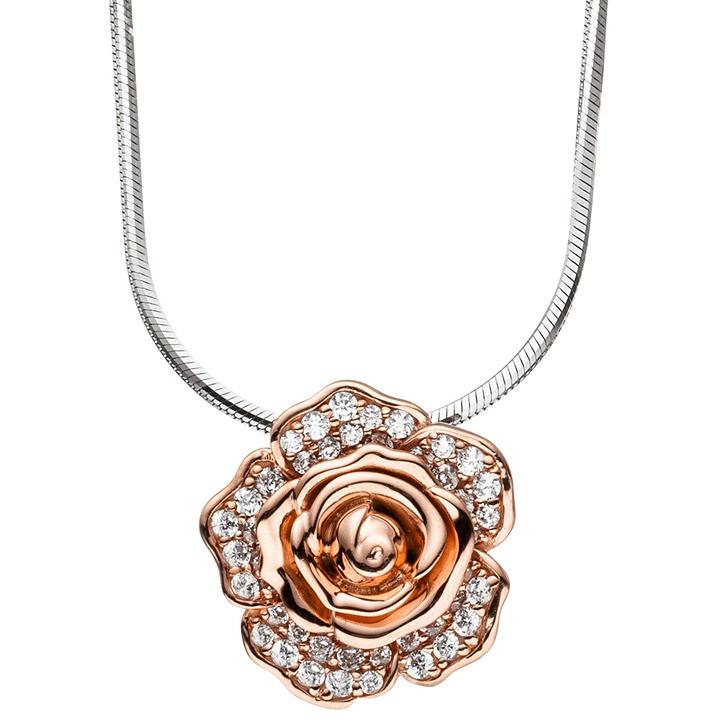Kette mit Anhänger Blume Rose 925 Silber bicolor vergoldet 66 Zirkonia 45 cm