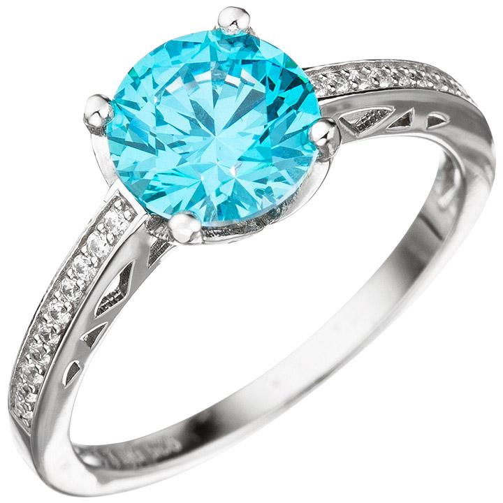 Damen Ring 925 Sterling Silber mit Zikonia türkis blau hellblau