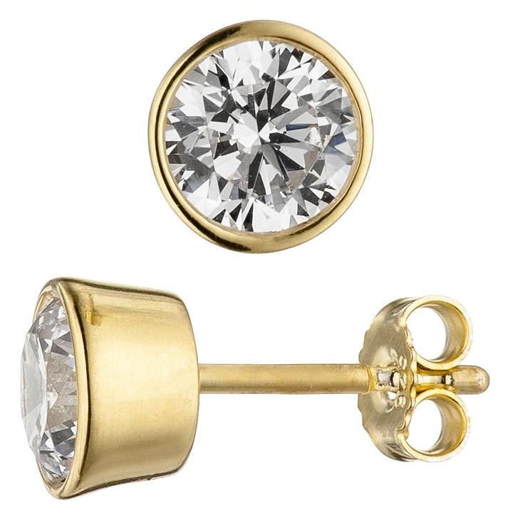 Ohrstecker rund 925 Sterling Silber gold vergoldet 2 Zirkonia Ohrringe
