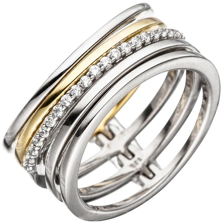 Damen Ring mehrreihig breit 925 Silber bicolor vergoldet mit Zirkonia Silberring