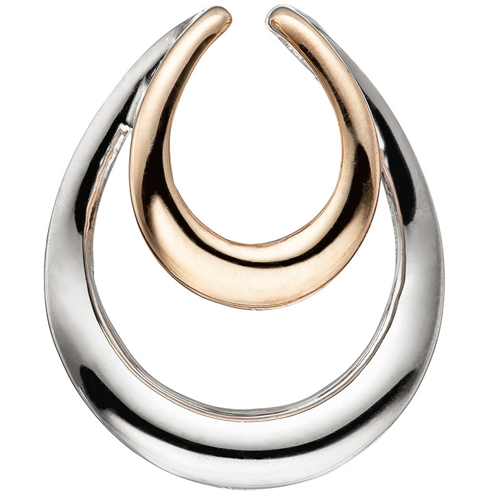 Anhänger Tropfen 925 Sterling Silber bicolor vergoldet Silberanhänger