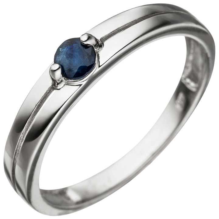 Damen Ring 333 Gold Weißgold 1 Safir blau Weißgoldring Safirring