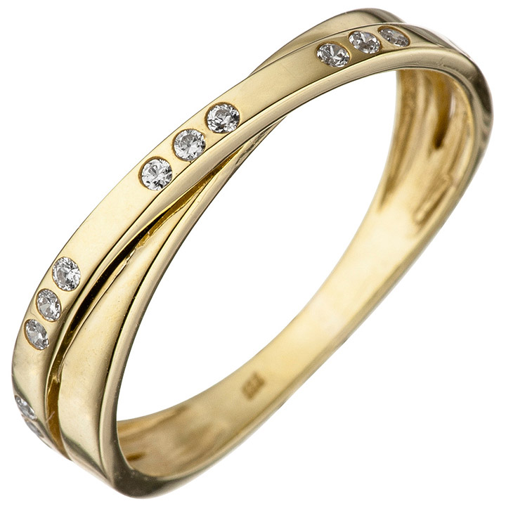 Damen Ring 333 Gold Gelbgold 15 Zirkonia Goldring