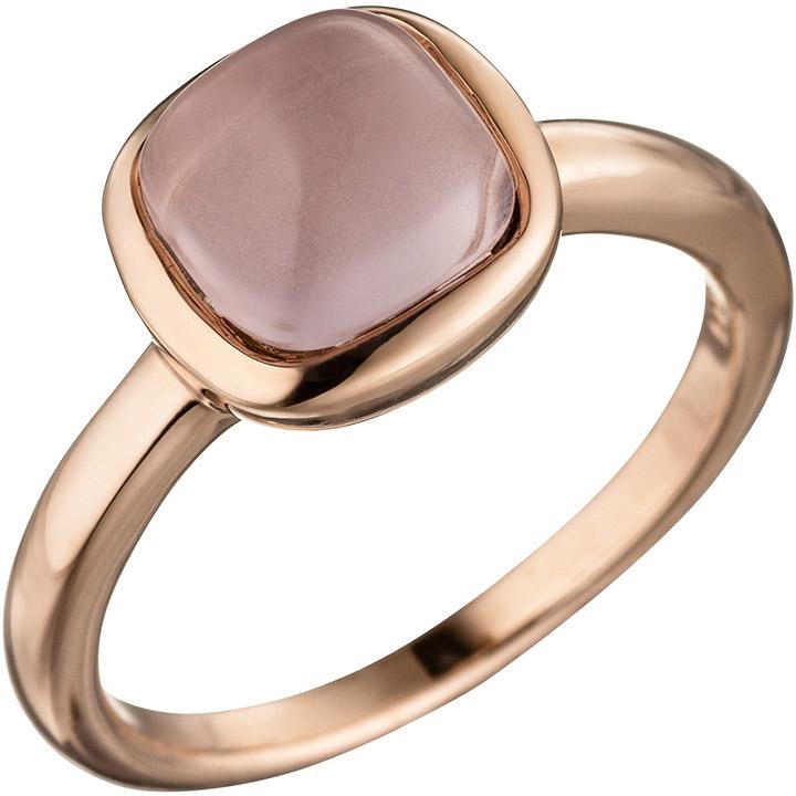 Damen Ring 925 Sterling Silber rotgold vergoldet mit rosa Glasstein