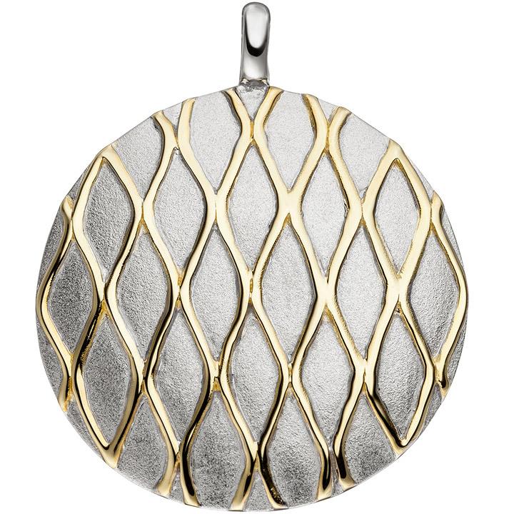 Anhänger rund 925 Sterling Silber bicolor vergoldet matt mattiert