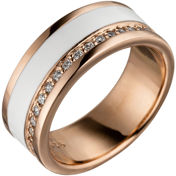 Damen Ring 925 Sterling Silber rotgold vergoldet mit Zirkonia weiße Lackeinlage