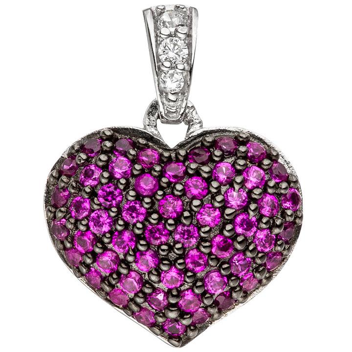 Anhänger Herz 925 Sterling Silber mit Zirkonia pink Herzanhänger Silberanhänger