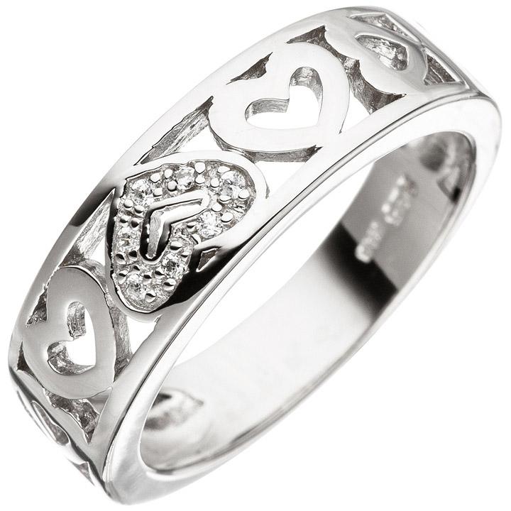 Damen Ring Herz Herzen 925 Sterling Silber mit Zirkonia Silberring