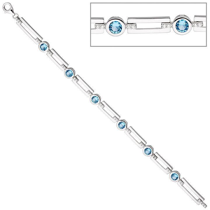 Armband 925 Sterling Silber mit Zirkonia hellblau und weiß 19 cm Silberarmband