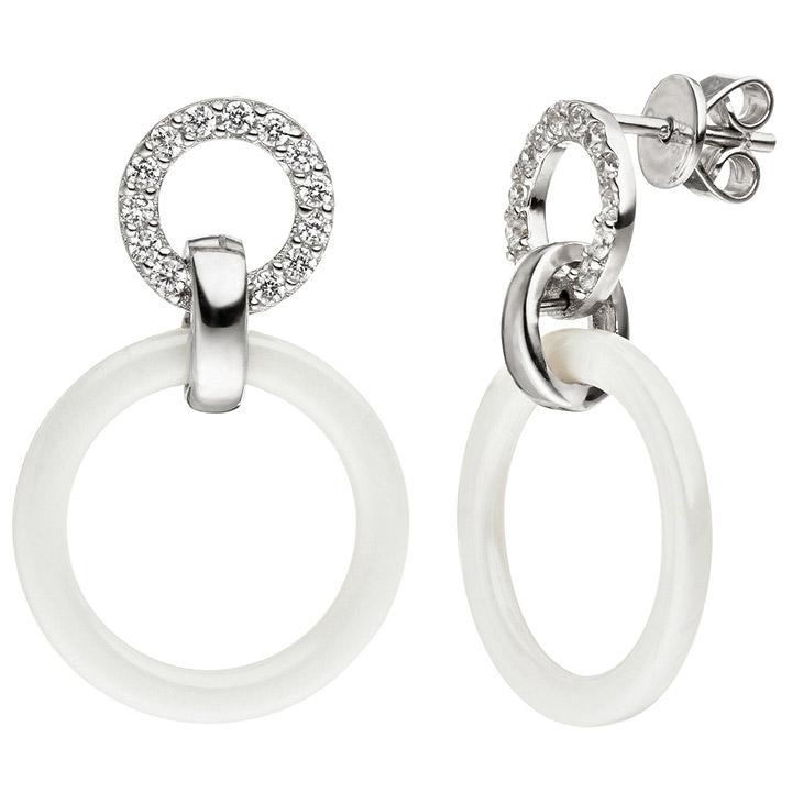 Ohrhänger 925 Silber mit Keramik weiß und Zirkonia Ohrringe Keramikohrringe