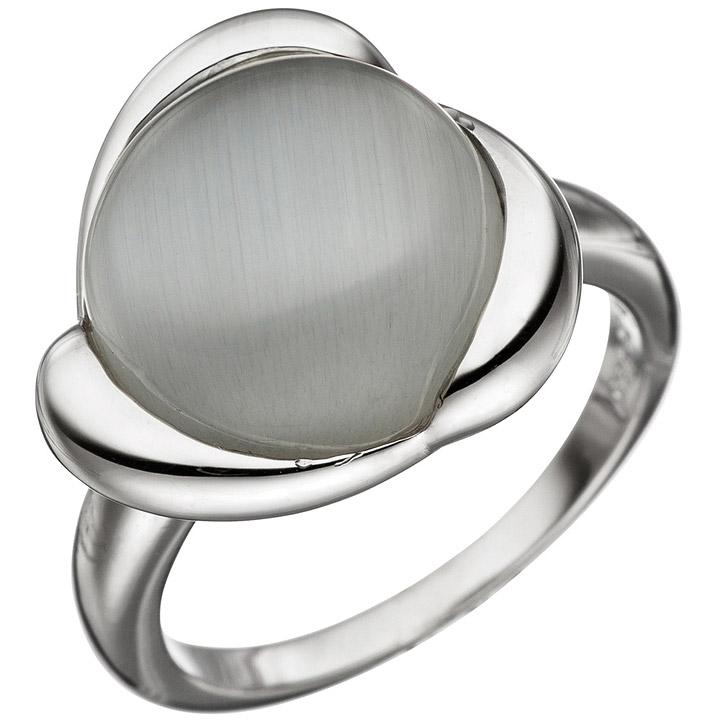 Damen Ring 925 Sterling Silber 1 Katzenauge Silberring