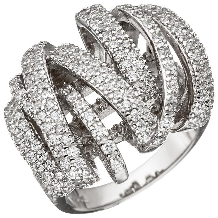 Damen Ring verschlungen 925 Sterling Silber mit Zirkonia Silberring