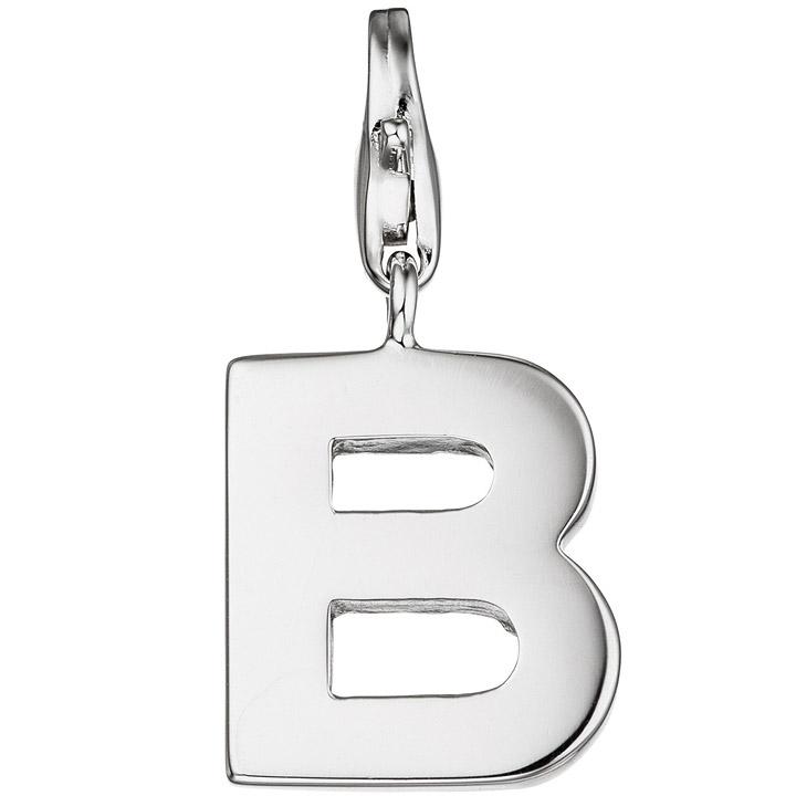 Einhänger Charm Buchstabe B 925 Sterling Silber Anhänger für Bettelarmband