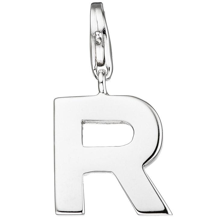 Einhänger Charm Buchstabe R 925 Sterling Silber Anhänger für Bettelarmband