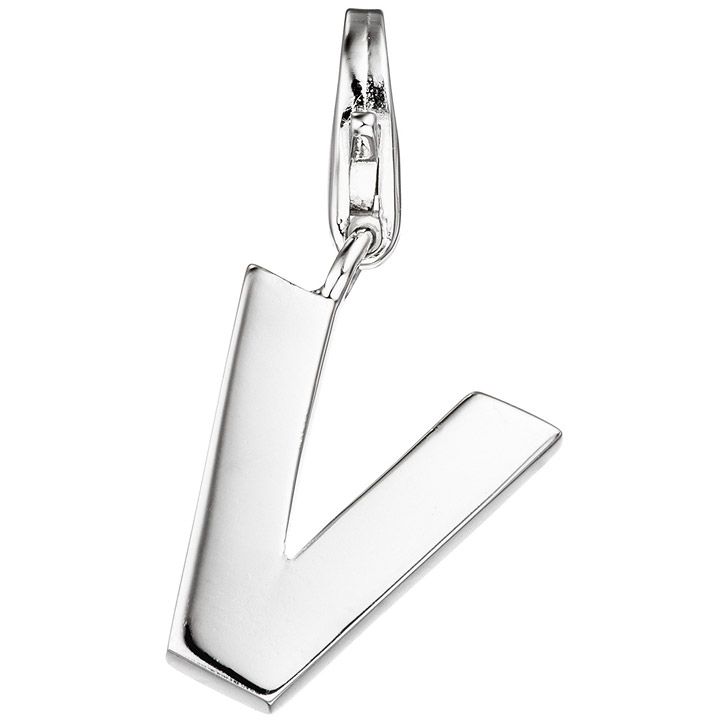 Einhänger Charm Buchstabe V 925 Sterling Silber Anhänger für Bettelarmband