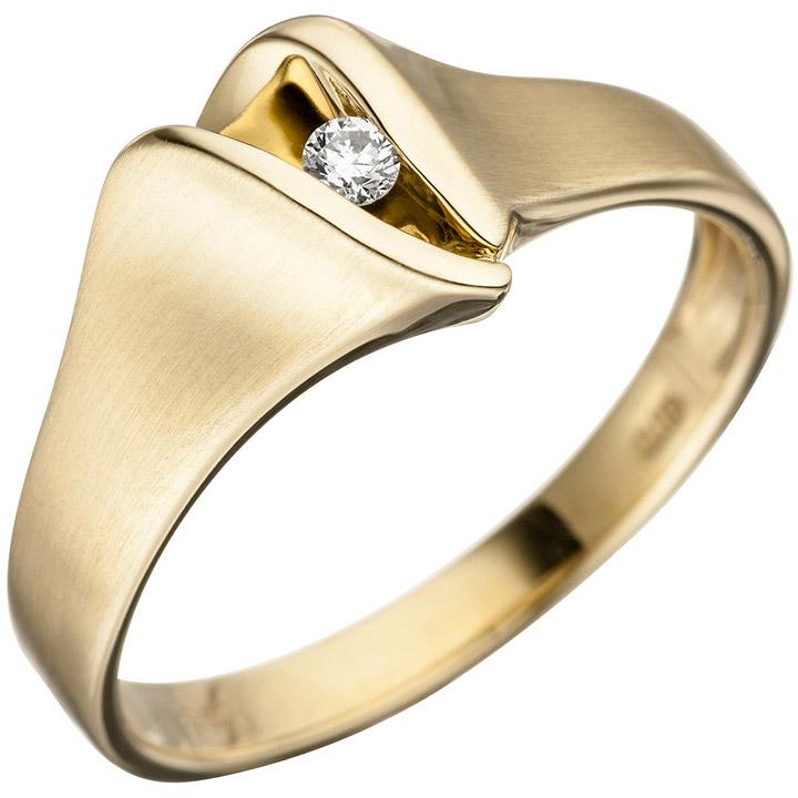 Damen Ring 585 Gold Gelbgold matt 1 Diamant Brillant Goldring Diamantring