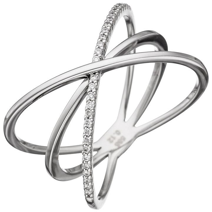 Damen Ring 3-reihig 585 Gold Weißgold 30 Diamanten Brillanten Weißgoldring