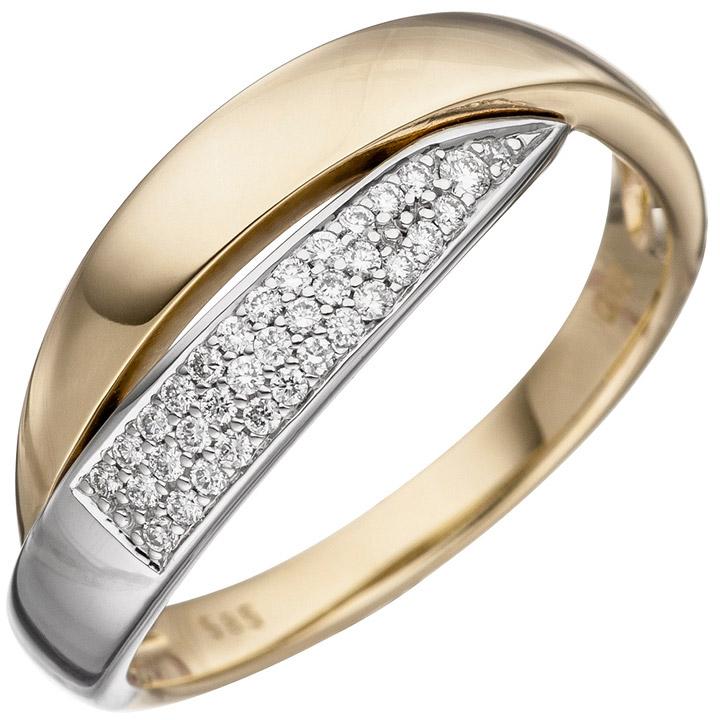 Damen Ring 585 Gold Gelbgold Weißgold bicolor 35 Diamanten Brillanten Goldring