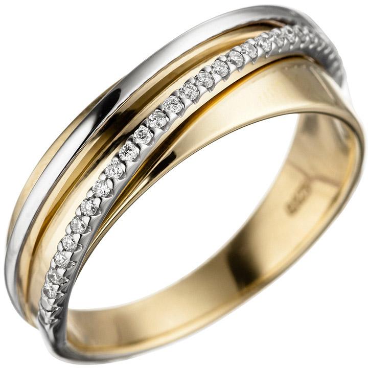 Damen Ring 585 Gold Gelbgold Weißgold bicolor 25 Diamanten Brillanten Goldring