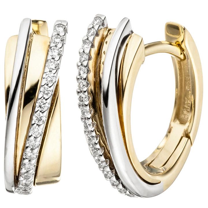 Creolen 585 Gold Gelbgold Weißgold bicolor 32 Diamanten Brillanten Ohrringe