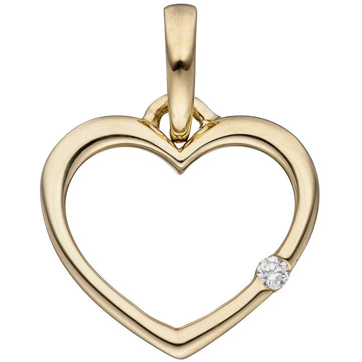 Anhänger Herz 333 Gold Gelbgold 1 Diamant Brillant Herzanhänger Goldherz