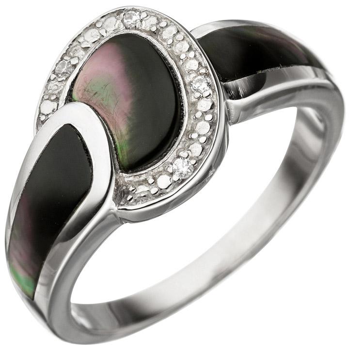 Damen Ring 925 Sterling Silber Perlmutt Einlagen grau mit Zirkonia Perlmuttring