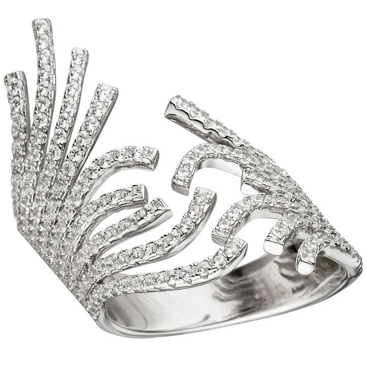 Damen Ring breit offen 925 Sterling Silber mit Zirkonia Silberring