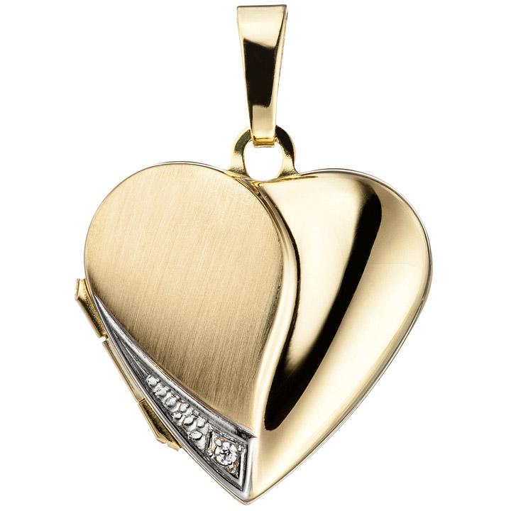 Medaillon Herz für 2 Fotos 333 Gold Gelbgold mit Zirkonia Anhänger zum Öffnen