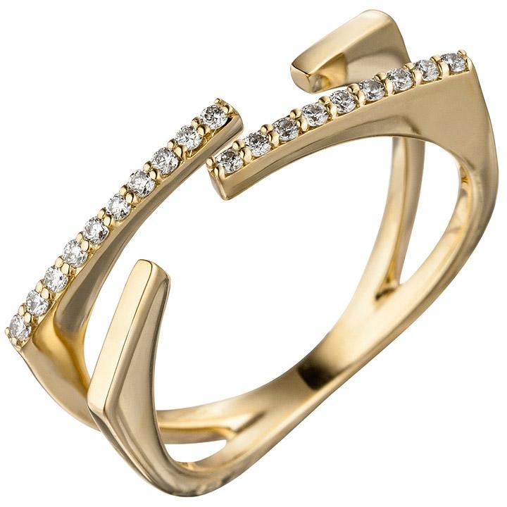 Damen Ring offen 585 Gold Gelbgold 19 Diamanten Brillanten 0,15ct. Goldring