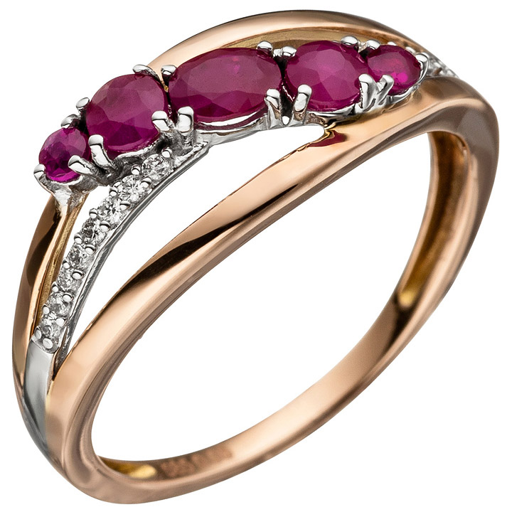 Damen Ring 585 Gold Rotgold 5 Rubine rot 16 Diamanten Brillanten Rubinring