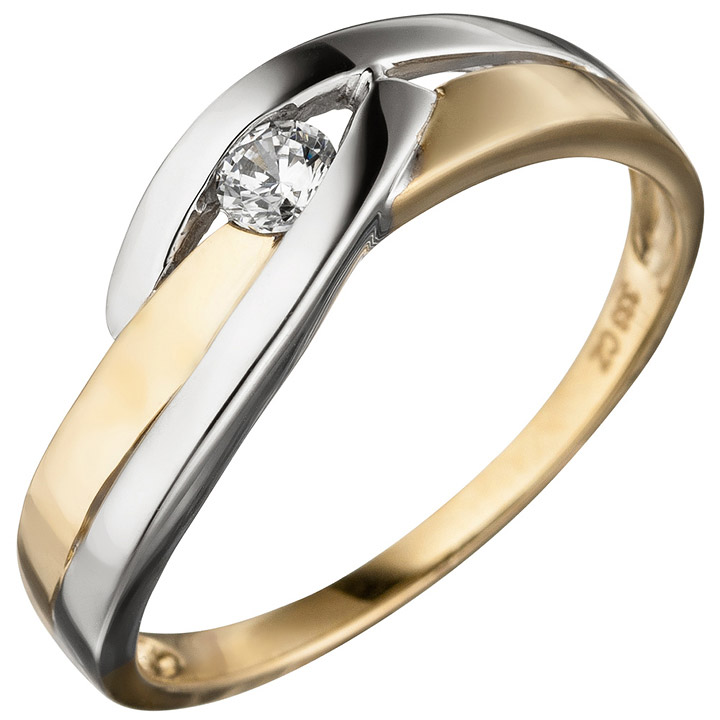 Damen Ring 333 Gold Gelbgold bicolor 1 Zirkonia Goldring