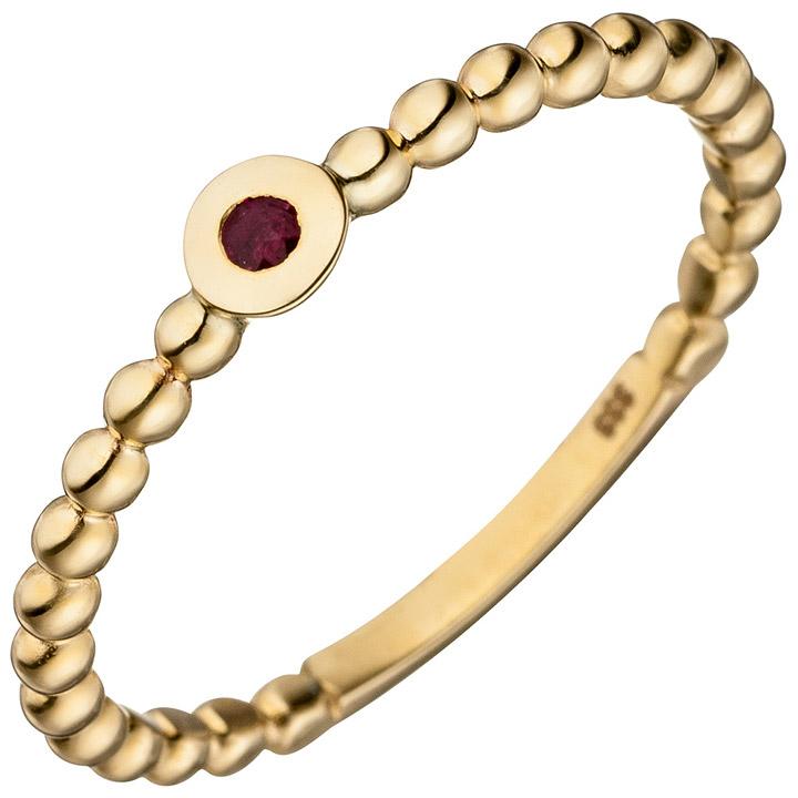 Damen Ring Kugel 333 Gold Gelbgold 1 Rubin rot Kugelring Rubinring