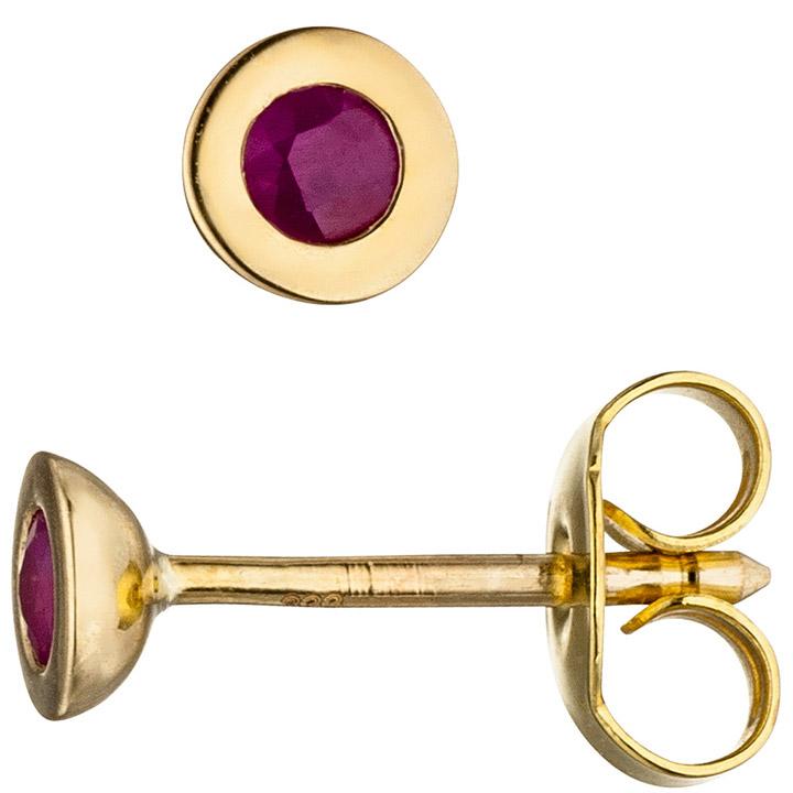 Ohrstecker 333 Gold Gelbgold 2 Rubine rot Ohrringe Goldohrringe Rubinohrringe