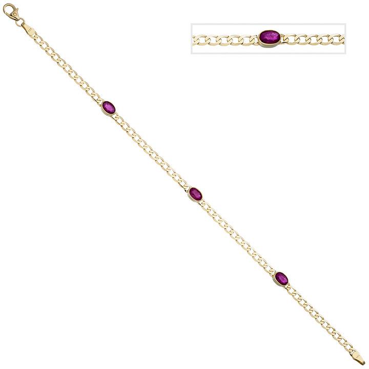 Armband 585 Gold Gelbgold 3 Rubine rot 19,5 cm Goldarmband Rubinarmband