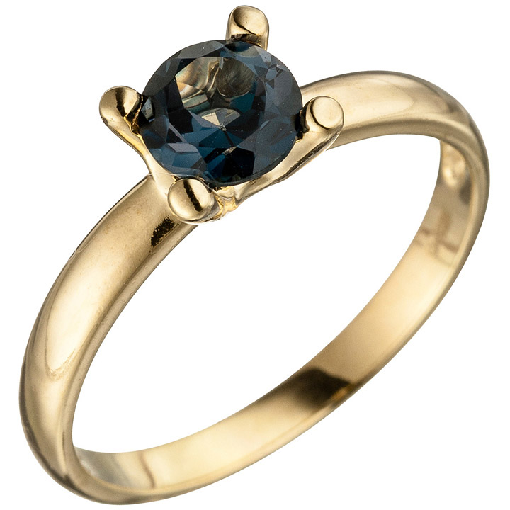 Damen Ring 585 Gold Gelbgold 1 Blautopas blau London Blue Goldring