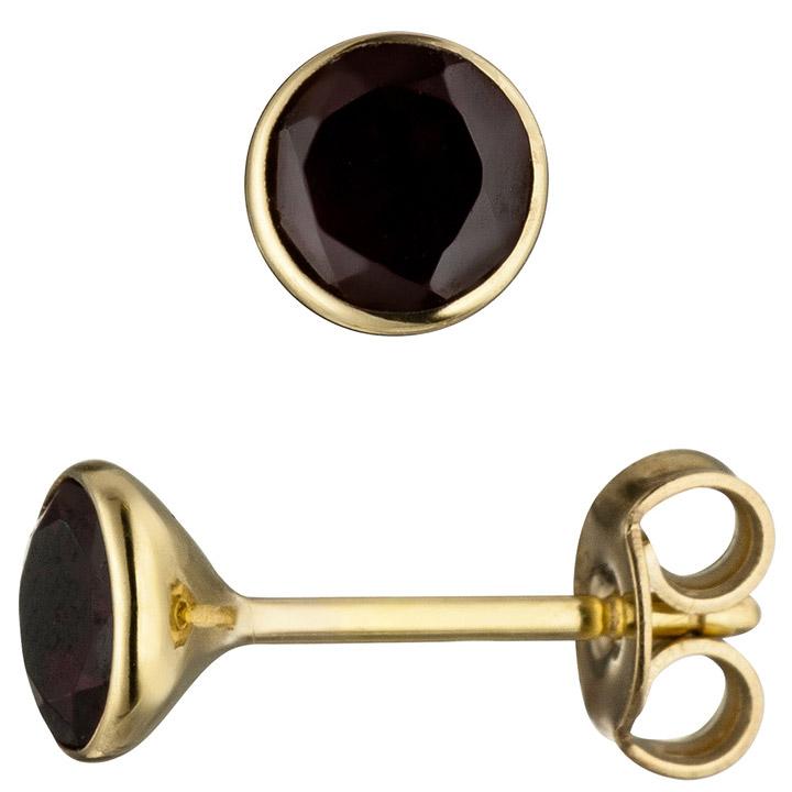 Ohrstecker rund 585 Gold Gelbgold 2 Granate rot Ohrringe Granatohrringe